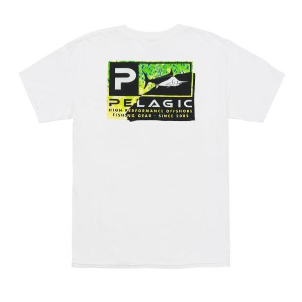 Тениска с къс ръкавPELAGIC TORN ICON GREEN PREMIUM TEE White