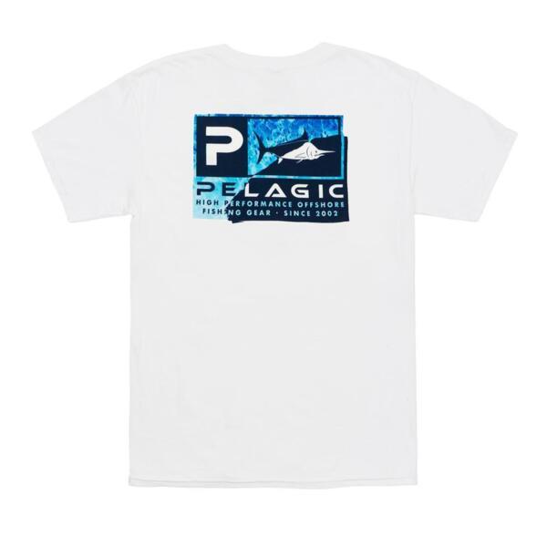 Тениска с къс ръкавPELAGIC TORN ICON BLUE PREMIUM TEE White
