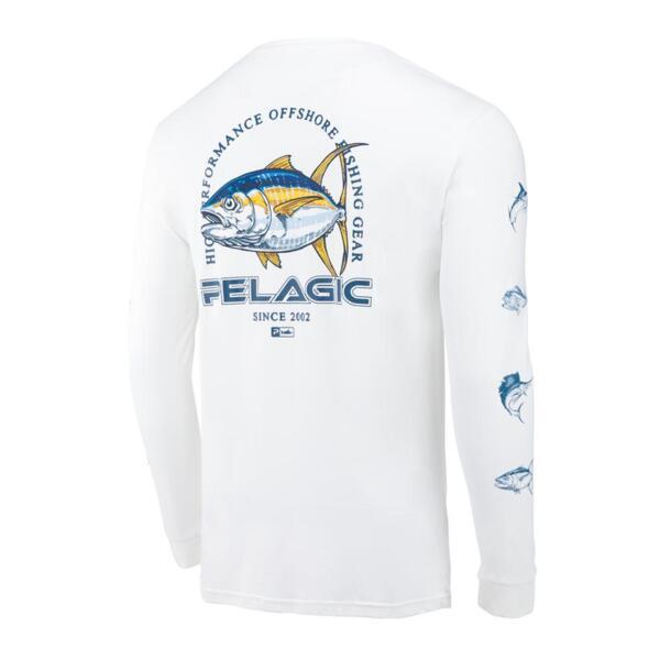 Тениска с дълъг ръкав UPF 50+ PELAGIC FLYING YFT AQUATEK White