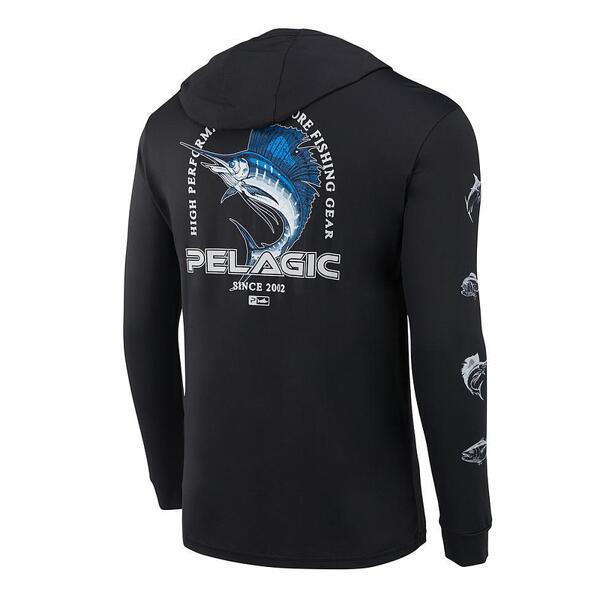 UV блуза с качулка и дълъг ръкав UPF 50+ PELAGIC FLYUNG SAILFISH AQUATEK HOODIE Black