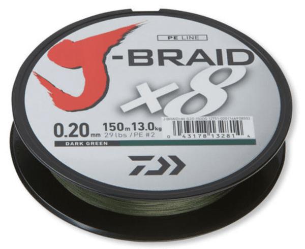 Плетено Влакно DAIWA J-BRAID X8 - 300м /ТЪМНО ЗЕЛЕН
