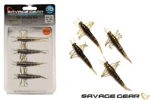 Силиконова примамка Savage Gear 3D PVC Mayfly 50mm 8 броя