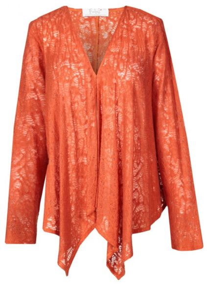 Asymmetrical orange lady's cardigan