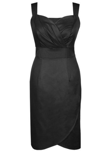 Черна  вталена рокля с широки презрамки
