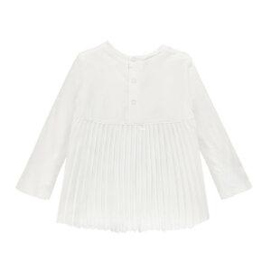 Асиметрична памучна блузка с плисе на гърба за мини момиче