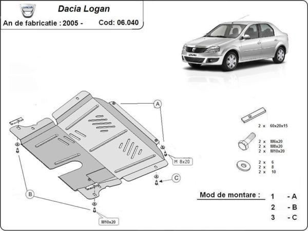 Метална кора под двигател и скоростна кутия DACIA LOGAN I от 2004 до 2008