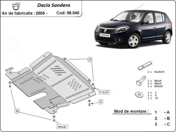 Метална кора под двигател и скоростна кутия DACIA SANDERO от 2008 до 2012