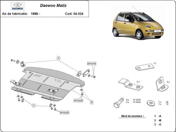 Метална кора под двигател и скоростна кутия DAEWOO MATIZ от 1998 до 2000