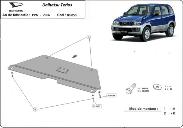 Метална кора под скоростна кутия DAIHATSU TERIOS (J100) от 1997 до 2005
