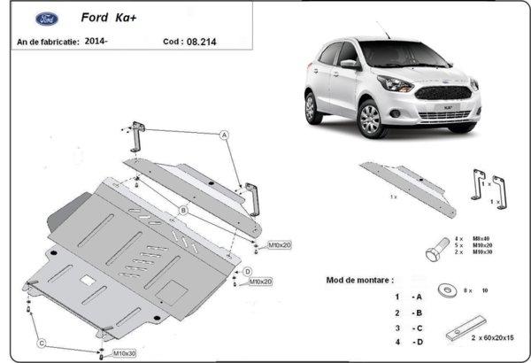Метална кора под двигател и скоростна кутия FORD KA от 2008 до 2016