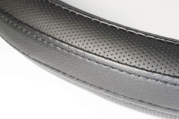 Черен калъф за волан от перфо и гладка еко кожа - няколко размера