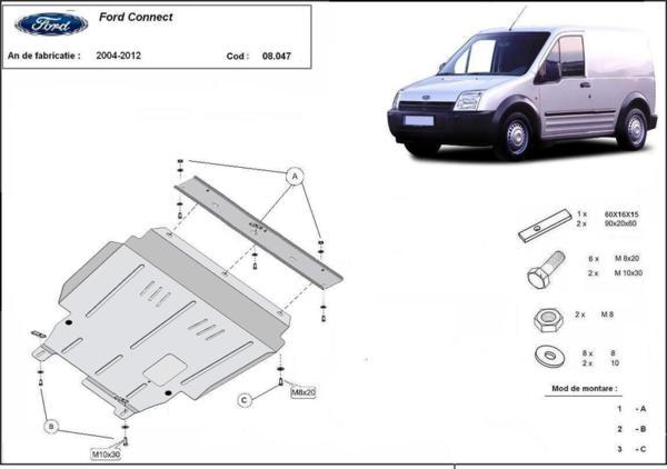 Метална кора под двигател и скоростна кутия FORD TRANSIT TOURNEO CONNECT от 2009 до 2013