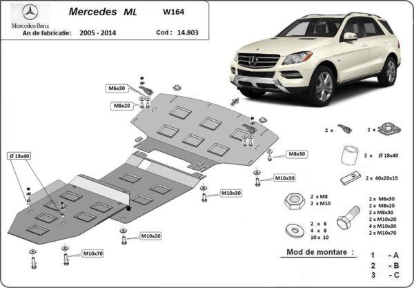 Метална кора под двигател и скоростна кутия MERCEDES ML (W164) от 2005 до 2010