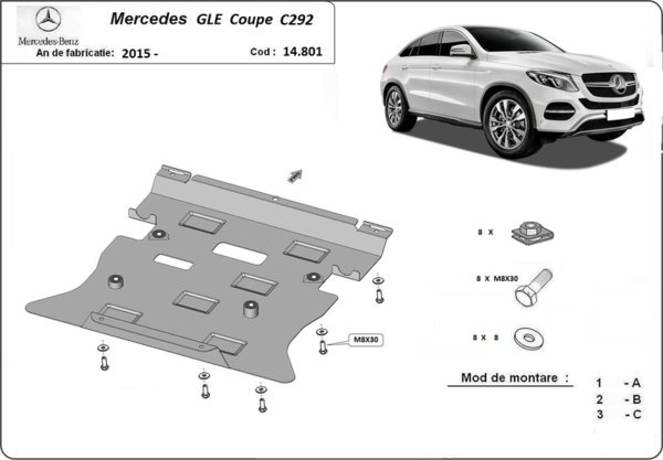 Метална кора под двигател и скоростна кутия MERCEDES GLE (C292) купе от 2015