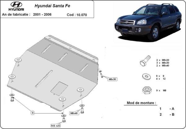 Метална кора под двигател и скоростна кутия HYUNDAI SANTA FE от 2001 до 2005
