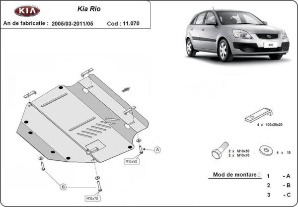 Метална кора под двигател и скоростна кутия KIA RIO от 2005 до 2011
