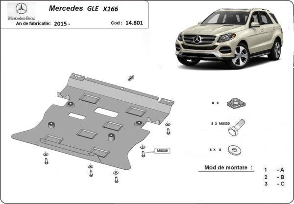 Метална кора под двигател и скоростна кутия MERCEDES GLE (W166) от 2015