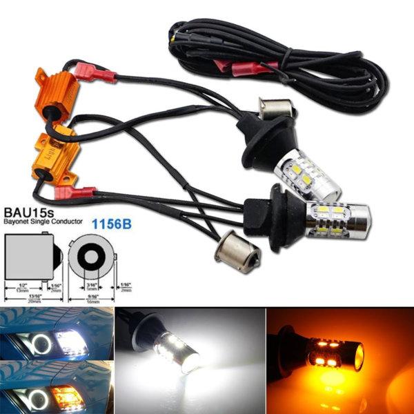 Дневни светлини с мигач BA15S CANBUS LED - 2бр