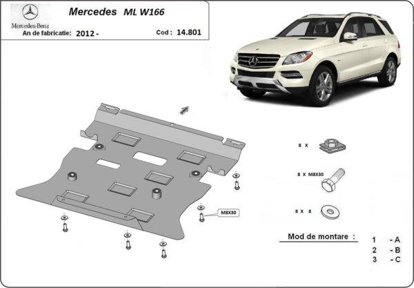 Метална кора под двигател и скоростна кутия MERCEDES ML (W166) от 2012