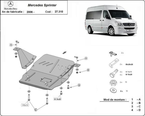 Метална кора под двигател и скоростна кутия MERCEDES SPRINTER от 2005