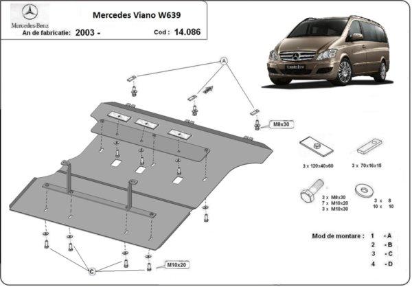 Метална кора под двигател и скоростна кутия MERCEDES VITO/VIANO (W639) от 2003 до 2014