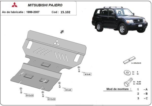 Метална кора под двигател MITSUBISHI PAJERO от 1991 до 2000