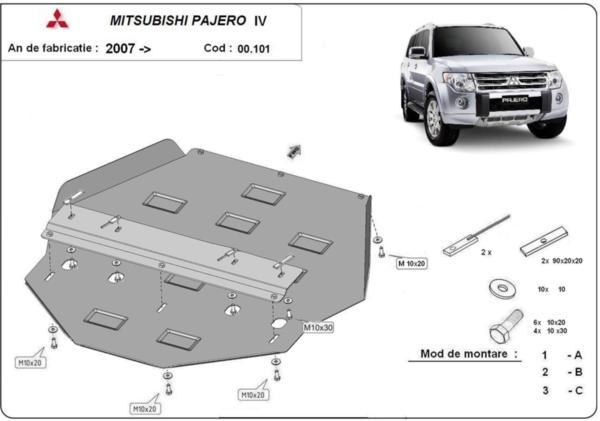 Метална кора под скоростната кутия и диференциал MITSUBISHI PAJERO от 2007