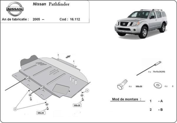 Метална кора под двигател NISSAN PATHFINDER (R51) от 2005 до 2012