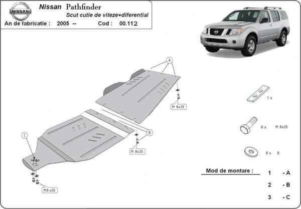Метална кора под скоростната кутия и диференциал NISSAN PATHFINDER (R51) от 2005 до 2012