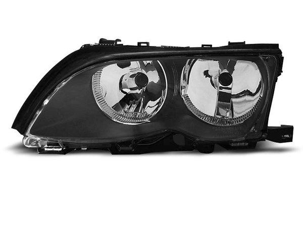 Тунинг ляв рефлекторен фар черен за BMW 3 E46 09.2001-03.2005 седан/комби
