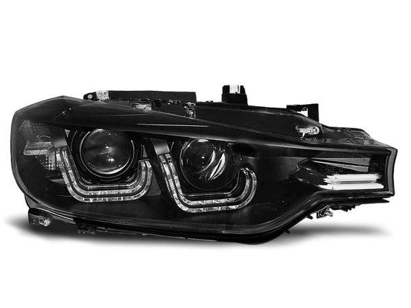 Тунинг фарове черни с истински DRL светлини за BMW 3 F30/F31 10.2011