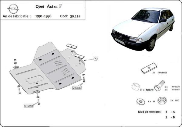 Метална кора под двигател и скоростна кутия OPEL ASTRA F от 1995 до 1998