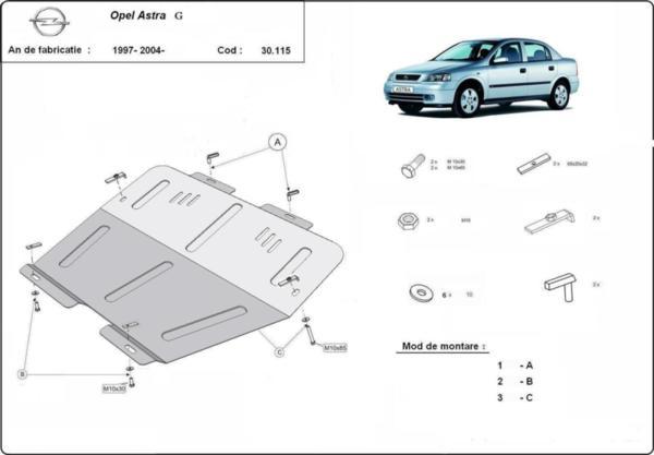 Метална кора под двигател и скоростна кутия OPEL ASTRA G от 1998 до 2004