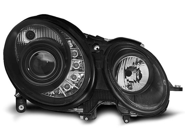 Тунинг фарове черни с LED светлини за MERCEDES W211 E-KLASA 05.2006-2009