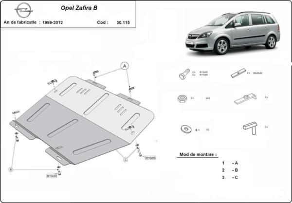 Метална кора под двигател и скоростна кутия OPEL ZAFIRA B от 2005 до 2008