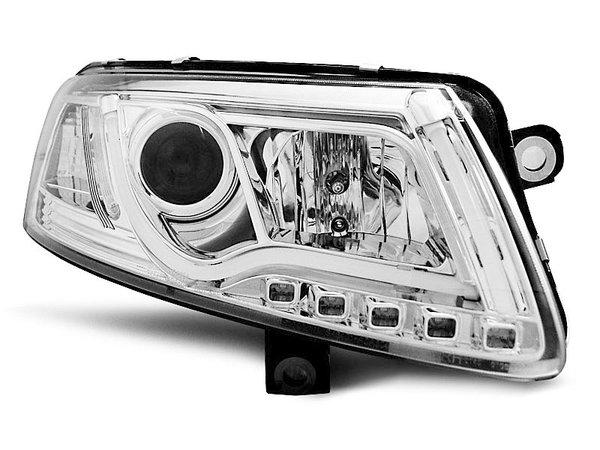 Тунинг фарове хром с истински DRL светлини за Audi A6 C6 04.2004-2008 седан/комби