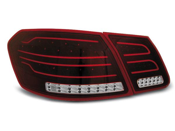 Тунинг LED стопове черно червено за Mercedes W212 E-класа 2009-2013 седан, версия с led мигачи във фабричните стопове
