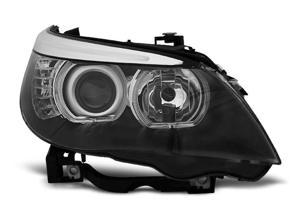 Тунинг фарове черни с LED ангелски очи за BMW E60/E61 2003-2007