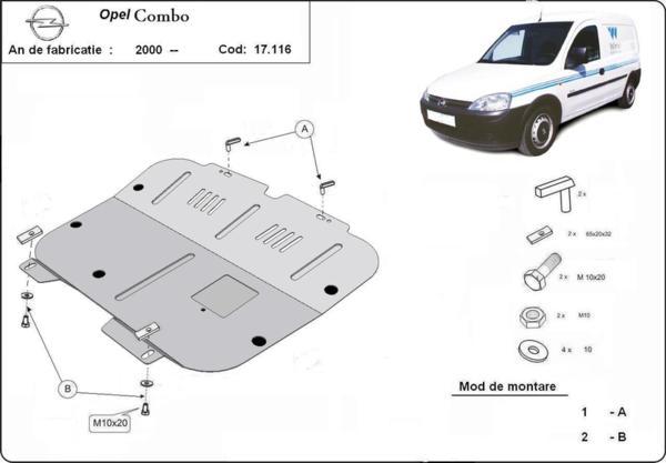 Метална кора под двигател и скоростна кутия OPEL COMBO C от 2002 до 2011