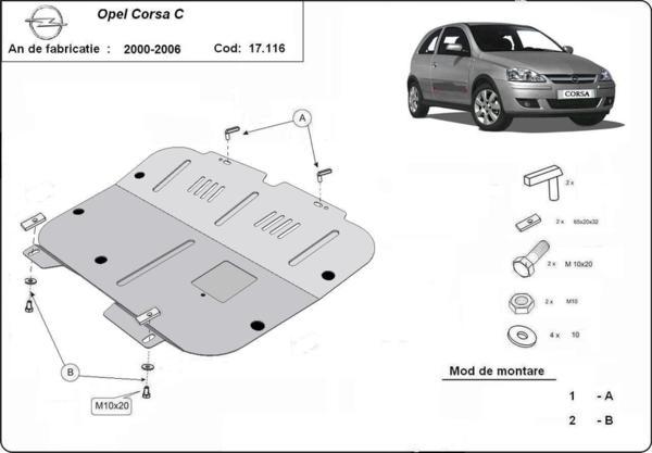 Метална кора под двигател и скоростна кутия OPEL CORSA C от 2000 до 2006