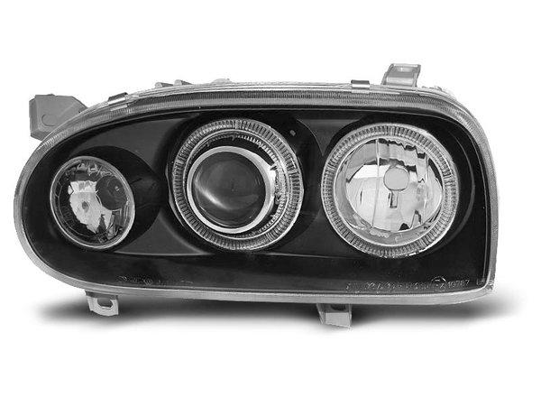 Тунинг фарове черни с халогенни ANGEL EYES за VW GOLF 3 09.1991-08.1997