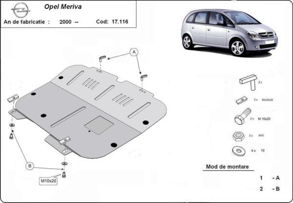 Метална кора под двигател и скоростна кутия OPEL MERIVA A от 2003 до 2010