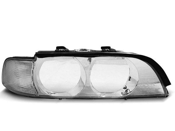 Универсално стъкло за ксенонови и халогенни фарове без въртрешно стъкло хром за BMW E39 09.95-08.00