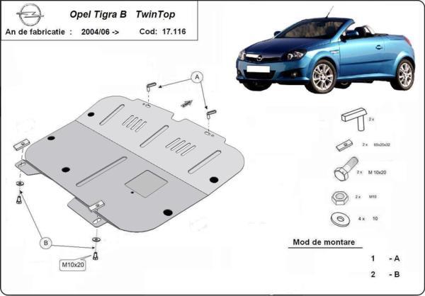 Метална кора под двигател и скоростна кутия OPEL TIGRA B / TwinTop от 2004