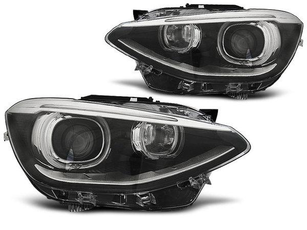 Тунинг фарове черни с ангелски очи и DRL светлини за BMW 1 F20/F21 2011-12.2014