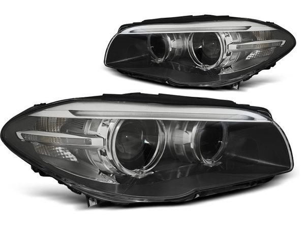 Тунинг фарове черни с ангелски очи и DRL светлини за BMW 5 F10/F11 2010-07.2013