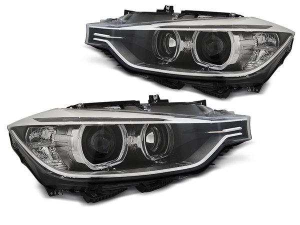 Тунинг фарове черни с TRU DRL и ANGEL EYES за BMW F30/F31 10.11 - 05.15