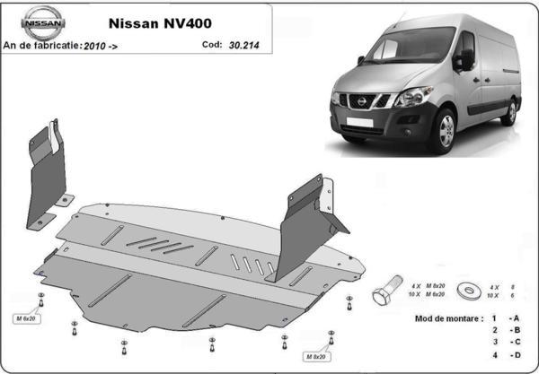 Метална кора под двигател и скоростна кутия NISSAN NV400 пътнически от 2011