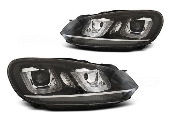 Тунинг фарове черни хром с TRU DRL и ANGEL EYES за VW GOLF 6 08-12
