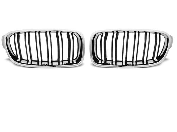 Тунинг решетки бъбреци черни с хром рамка за BMW F30 / F31 10.11- M3 LOOK